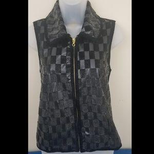 Lisa International Checkered Vest, Size PS